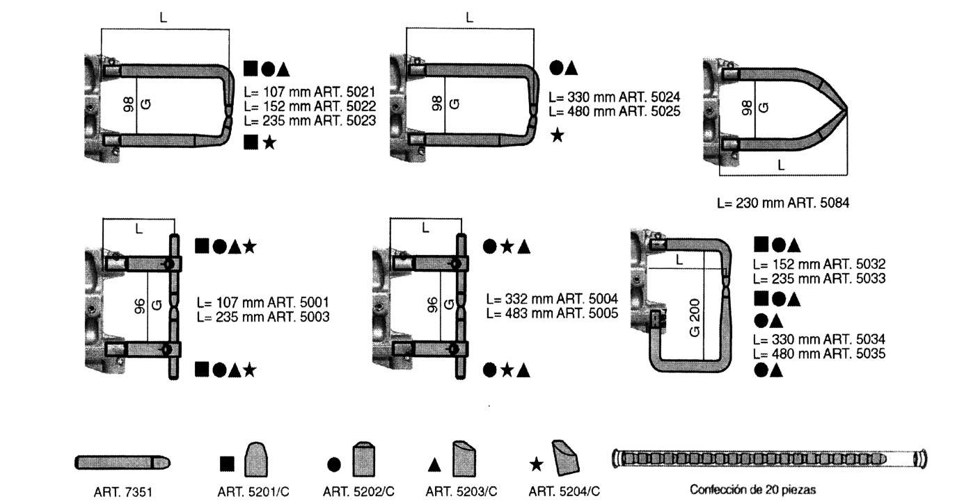 Dibujo y medidas brazos para puntatriz no refrigerados