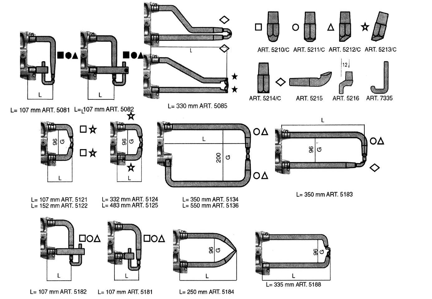 Dibujo y medidas brazos para puntatriz refrigerados