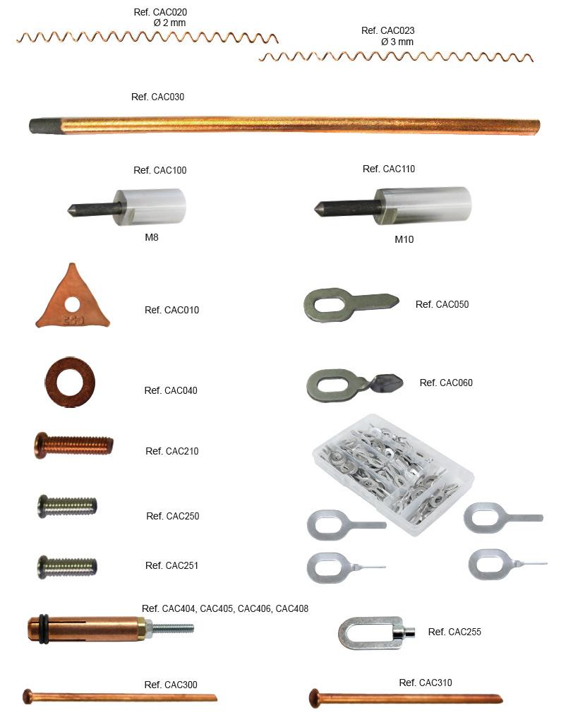 Consumibles para la soldadura, electrodos, arandelas, ojales