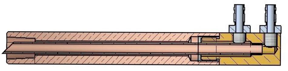 Sección de un brazo porta electrodo