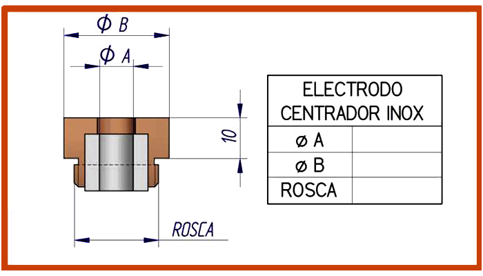 Electrodo para centrador inox