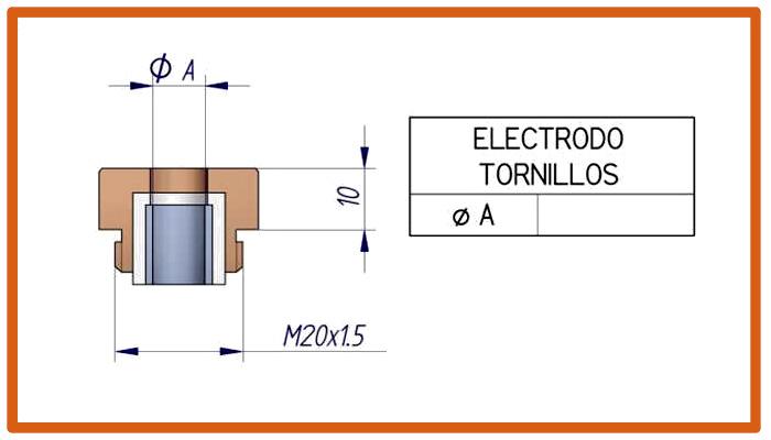 Electrodo con rosca para centrador